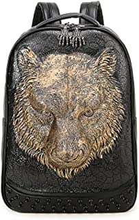 NSBDX Tiger Head Backpack Male Personality Rivet Animal Pattern Leather Backpack (Color : Gold)