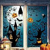 Halloween Fenêtre Autocollants, 9 Feuilles 150 Pièces Amovible Décorations d'Halloween Sticker Citrouille Chauve-Souris Fantôme Autocollants Décoration de Fête d'Halloween pour Maisons Hantées