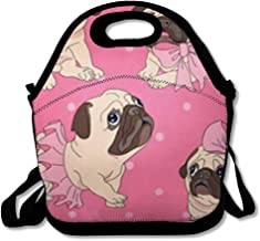 Lunch Bags for Women Men Insulated Beige Pattern Funny Pugs Puppies in Ballerina Tutu Bow On Pink Wildlife Puppy Pug Lunch Tote for Work and School