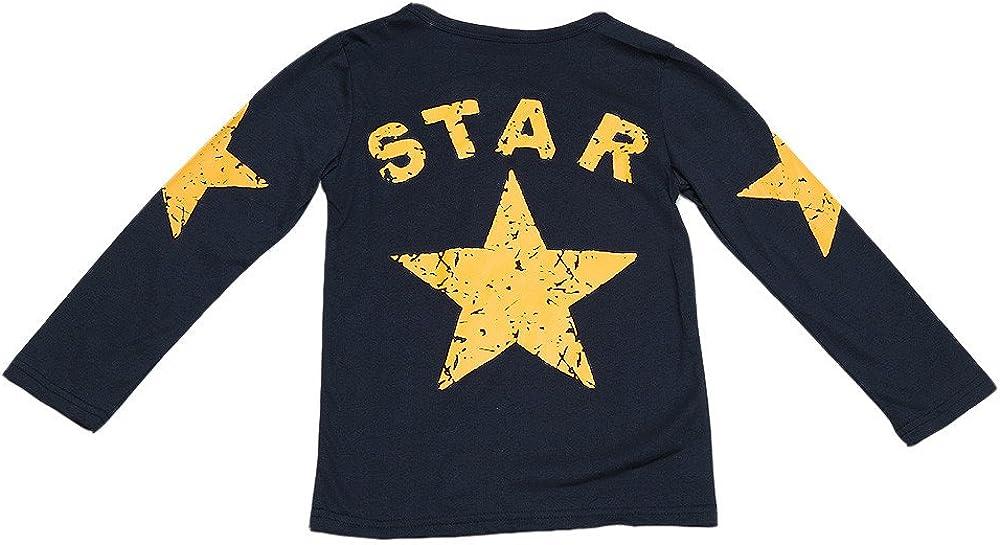 Deloito Infant Toddler Kids Baby Boy Long Sleeve Star Print T-Shirt Tops Clothes Boys O Neck Fashion Shirt