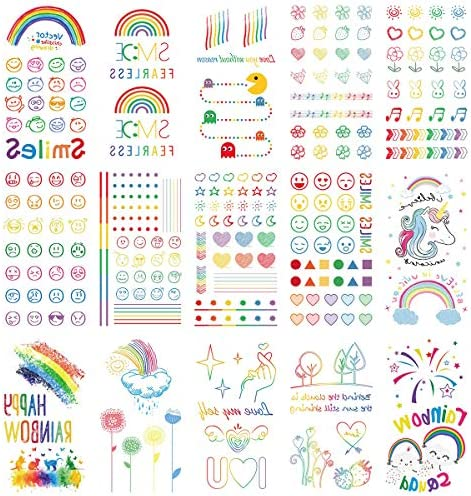 Oottati 15 Pieces Small Cute Finger Rainbow Smile Face Heart Flower Rabbit I Love You Unicorn product image