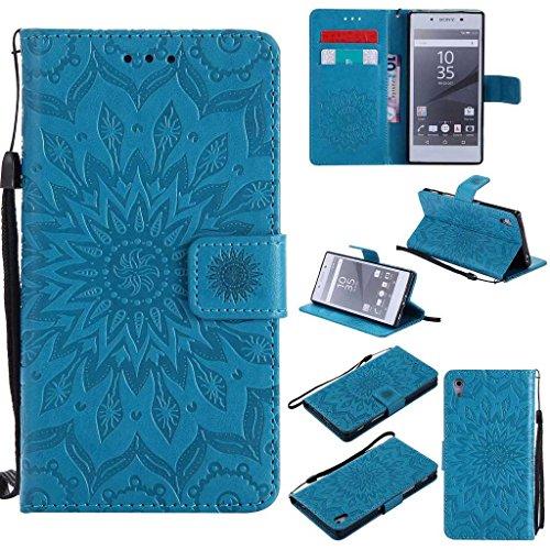 KKEIKO Hülle für Sony Xperia Z5, PU Leder Brieftasche Schutzhülle Klapphülle, Sun Blumen Design Stoßfest Handyhülle für Sony Xperia Z5 - Blau