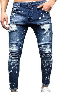 Jeans Pants Men Autumn Denim Cotton Straight Ripped Hole Trousers