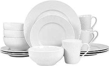 Elama White Porcelain Dish Dinnerware Set, 16 Piece, Jasmine