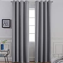 پرده های پرده گرمی عایق بندی شده حرارتی اتاق Yakamok اتاق تیره ، اتاق خواب 52 x 84L ، خاکستری ، 2 تابلو ، 2 کراوات پشتی