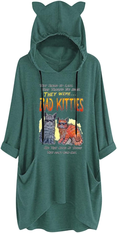 price Hoodies for Women Cute Cat Ear C Fall Graphic Sweatshirts Japan Maker New Casual