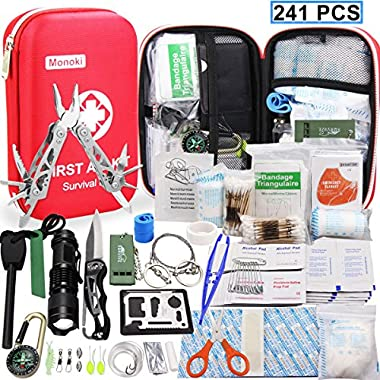Monoki First Aid Kit Survival Kit, 241Pcs Upgraded Outdoor Emergency Survival Kit Gear - Medical Supplies Trauma Bag Safety First Aid Kit for Home Office Car Boat Camping Hiking Hunting Adventures