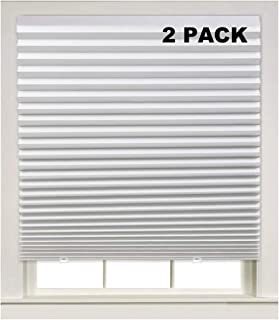 Turquoize Light Filtering Temporary Pleat Paper Shades White, Quick Fix & Easy to Install, 48