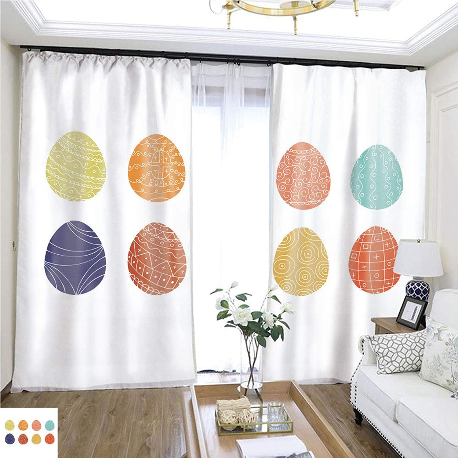 Air Port Screen colorful Easter Eggs Collection in Doodle Style Hand Drawn W96 x L204 Provide Heat Highprecision Curtains for bedrooms Living Rooms Kitchens etc.