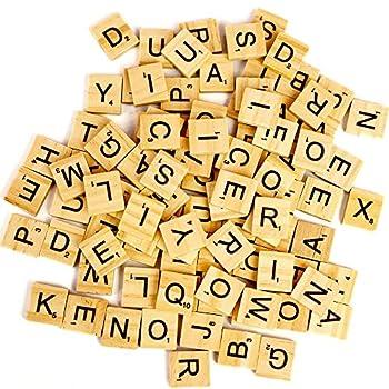 Haimai Scrabble Letters Wood Scrabble Tiles A-Z Capital Letters for Spelling 100 PCS