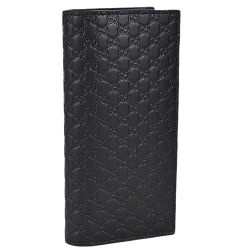 bb33c393964e Gucci Men's Black Leather Micro GG Vertical Chest Pocket Wallet ...
