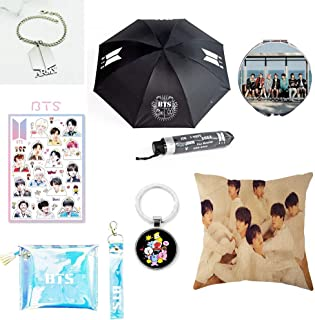 Youyouchard BTS Bangtan Boys,BTS Umbrella+BTS Keychain+Double-sided Pillow Case/Cushion Covers+ BTS Bracelet+Cosmetic Bag+Makeup Mirror+BTS Stickers,Bts Gift for Girls