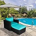 Patio Garden Furniture Sofa Ottoman Set PE Rattan Outdoor Sectional Deck Seating