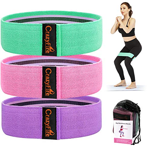 CrazyFire Resistance Bands Set, Non Slip Fabric Exercise Resistance Bands for Legs and Butt, Booty Bands Exercise Bands Workout Bands for Women Squat Glute Hip Training