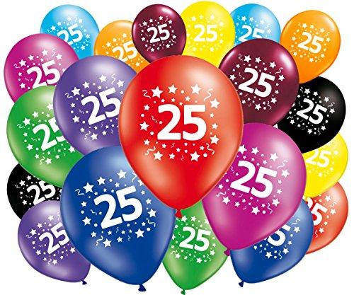 FABSUD Ballons Anniversaire 25 Ans - Lot de 20 Ballons 25