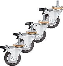4 stks Meubelwielen 4in Rubber Swivel Castor Wheel, Trolley Meubilair Casters Heavy Duty, Caster met remmen, met M14 / M16...