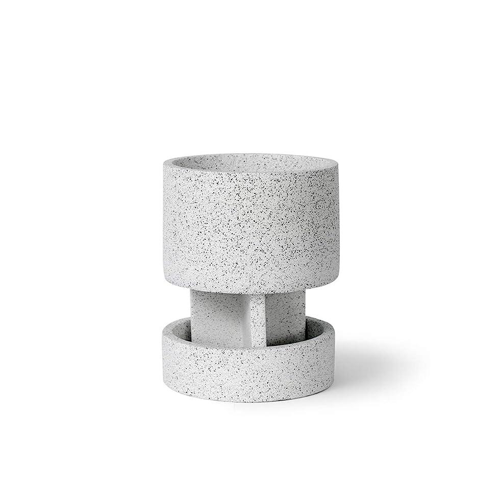 多様体姓ナチュラルKEHUITONG 植木鉢、装飾インテリアバルコニー、創造的な鉢植えの植物、セメントポット シンプルで耐久性のある (Color : White)