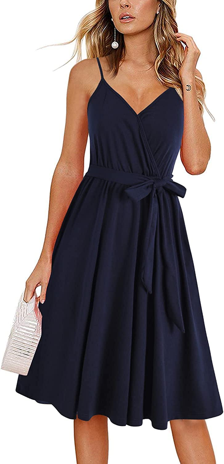 HELYO Women's Casual Dresses Cotton Summer Sleeveless Faux Wrap Spaghetti Strap Belt A Line Sundresses with Pockets 908