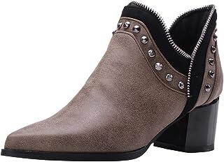 Bottines Femmes,SANFASHION Bottes Courtes Pointues Cheville Asymétrie Zippe Chaussures Boots Street Cool,Chaussures en Cui...