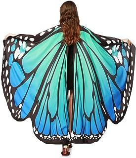 Schmetterling Kostüm, Damen Schmetterling Flügel Umhang Schal Poncho Kostüm Zubehör für Show/Daily/Party