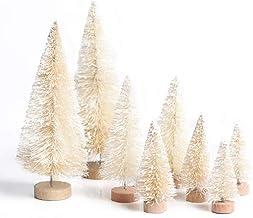 Yalulu 8Pcs Mini Sisal Fiber Snow Frost Trees Christmas Tree Frost Small Pine Tree DIY Craft Tabletop Trees Christmas Orna...