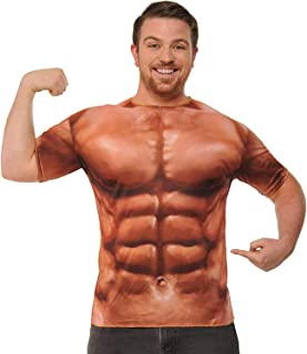 Forum Novelties Men's Photo-Real Printed Muscle Man Costume Top, As Shown, One Size