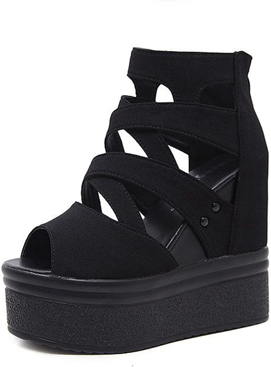 GIY Women's Strappy Platform Wedges Sandals Gladiator Peep Toe Chunky Hidden Heel Zipper Booties Black