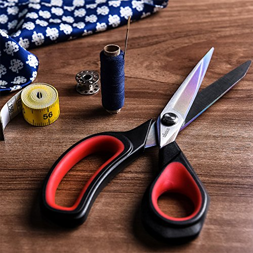 LIVINGO Premium Tailor Scissors Heavy Duty Multi-Purpose Titanium Coating Forged Stainless Steel Sewing Fabric Leather Dressmaking Softgrip Shears Professional Crafting (9.5 INCH)