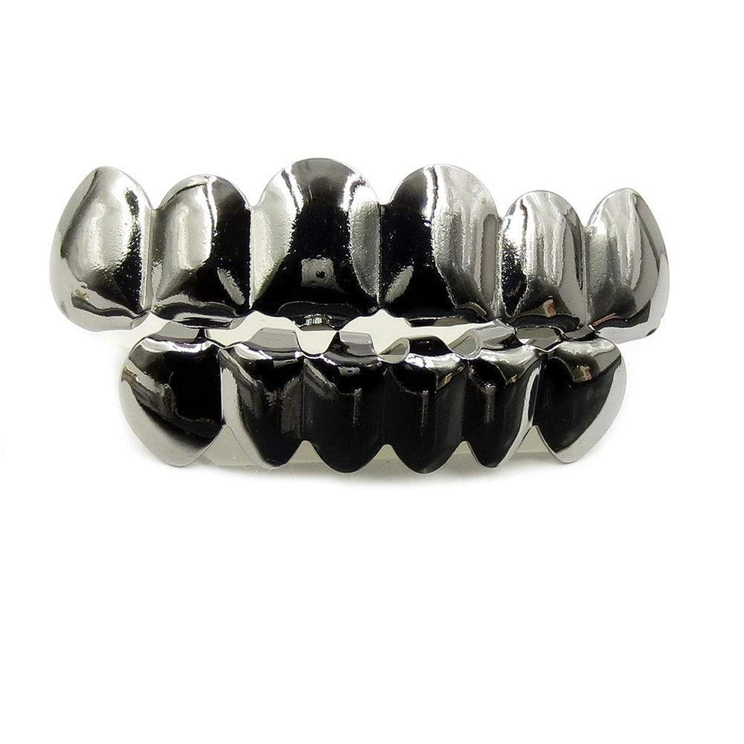 ショット警察脅威ヨーロッパ系アメリカ人INS最もホットなヒップホップの歯キャップ、ゴールド&ブラック&シルバー歯ブレースゴールドプレート口の歯 (Color : Black)