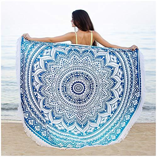 Rond Mandala Tapisserie avec Frange- 180cm surdimensionné - Bohémien Décor Murale - Drap de Plage- Tenture Coton Organique Biologique Bleu