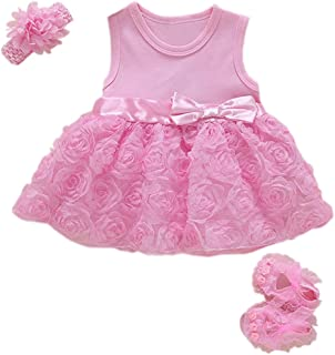 eac39b938022 Niyage Baby Girls Clothes Dress Headband Shoes 3 Pcs Set Flowers Party  Outfit