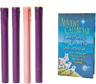 ElevenPlus2 Flameless LED 4 Piece Advent Candle Set Christmas Tapered Candles Purple and Pink - Soft Amber Flickering Flame and a Bonus Advent Calendar with Story