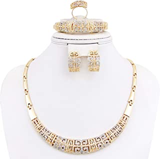 NYKKOLA 18K Gold Plated Crystal Necklace Bracelet...