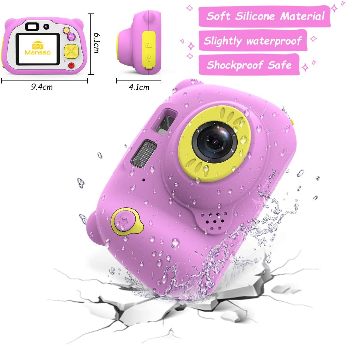 1080P HD Digital Camera for Kids with 2 Inch IPS Screen and 32GB SD Card,Mini Rechargeable and Shockproof Camera Creative DIY Camcorder for 3-12 Years Boys Girls Gift Blue Mansso Kids Camera
