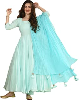 Style Amaze Women's Light Blue Cotton Silk Semi Stitched Long Anarkali Salwar Suit with Tassel Dupatta