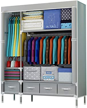 Portable Wardrobe Closets Fabric Wardrobe Waterproof, Foldable Hanging Rod, Closet Bedroom Extra Strong and Durable, for Clot