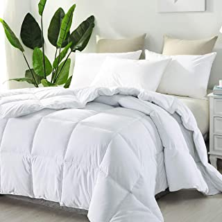 Accuratex Luxury Collection Hotel Style Allergy Free Super Soft Microfiber Overfilled White Goose Down Alternative Comforter, Duvet Insert with Corner tabs Full/Queen Size