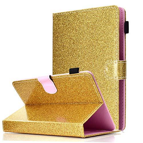 "Universal Hülle Glitzer für 9-10.1"" Tablet, Schutzhülle Case für iPad 2018, Samsung Galaxy E 9.6/Tab S2 9.7, Asus ZenPad 10, Lenovo TB-X103F/Tab 2 A10-70, Huawei MediaPad T5 10/M5 Lite 10, Gold"