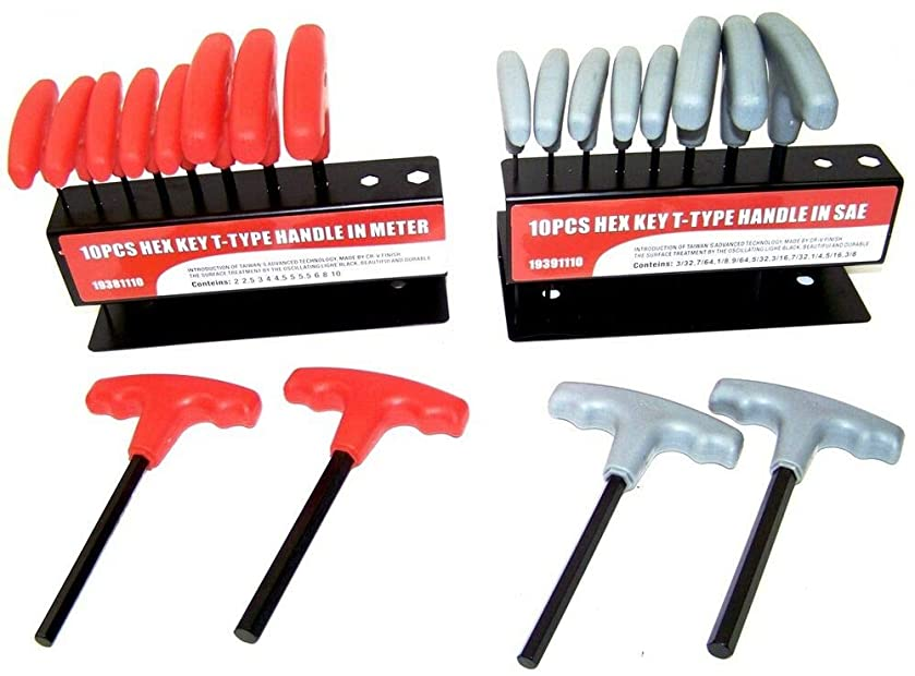 20 pc T Handle Type Hex Key Wrench Set Standard and Metric Sizes Allen Wrench D18088
