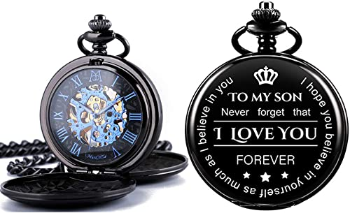 ManChDa Mechanical Double Cover Roman Numerals Dial Skeleton Engraved Pocket Watches with Box and Chain Personalized ...