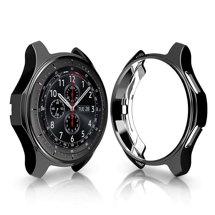 本能れる敬意を表してXIHAMA For Galaxy Gear S3 Frontier専用対応 スマートウォッチ サムスン 保護ケース TPUメッキ加工 シリコン製 カバー 耐衝撃 (黒)
