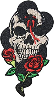 Snake Rose and Skull Patch Embroidered Applique Badge Iron On Sew On Emblem