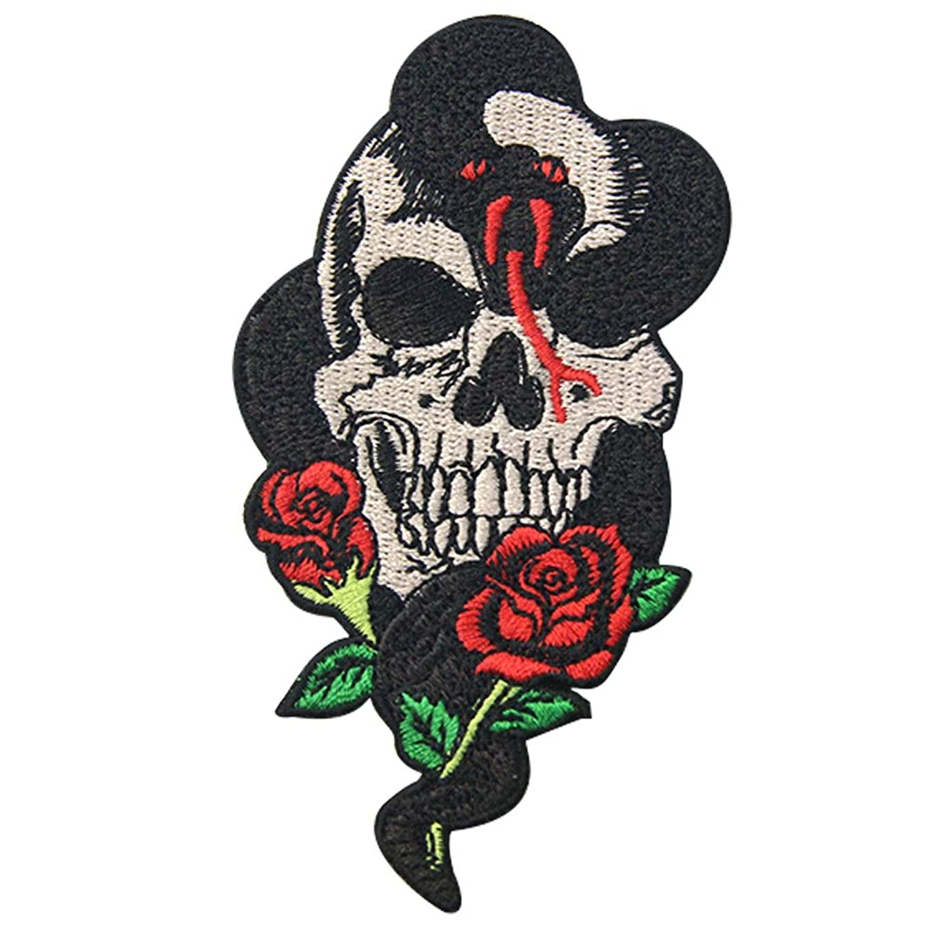 Snake Rose and Skull Patch Embroidered Applique Badge Iron On Sew On Emblem v2290858545