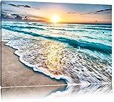 Meer bei Sonnenuntergang Format: 120x80 auf Leinwand, XXL riesige Bilder fertig gerahmt mit Keilrahmen, Kunstdruck auf Wandbild mit Rahmen, günstiger als Gemälde oder Ölbild, kein Poster oder Plakat