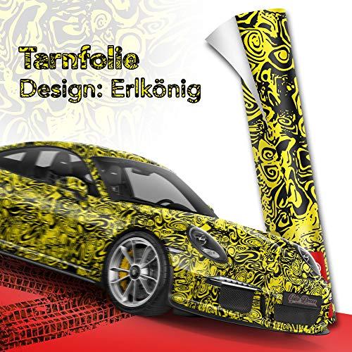 30x150cm Erlkönig Schwarz Gelb Tarnfolie für Prototypen- Folie mit Luftkanäle für blasenfreies 3D Wrapping!