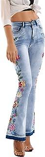 LFANH Jeans de cintura alta para mujer, parte inferior acampanada bordada floral, pantalones vaqueros de moda de pies anch...