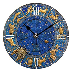 Wamika Round Wall Clock Moon Constellations Galaxy Clock Silent Non Ticking Wall Decorative,Space Blue Stars Clocks 10 Inch Battery Operated Quartz Quiet Desk Clock for Home