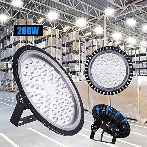LED Industrielampe UFO, 200W LED Hallenleuchte Industrial Hallenbeleuchtung Werkstattbeleuchtung Kronleuchter, Abstrahlwinkel 120°, Deutsches optisches PC Objektiv [Energieklasse A++]