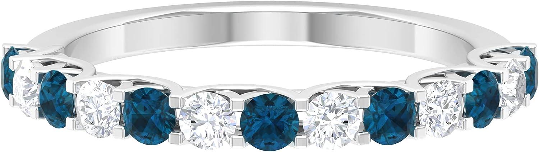 1 CT London Blue Topaz Half Eternity Ring with Diamond in Trellis Setting (AAA Quality),14K White Gold,Diamond,Size:US 4.50