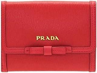 0ac423229f36 Prada Vitello Move Leather Geranio Red Coin Purse Bi-fold Bow Wallet 1MH523